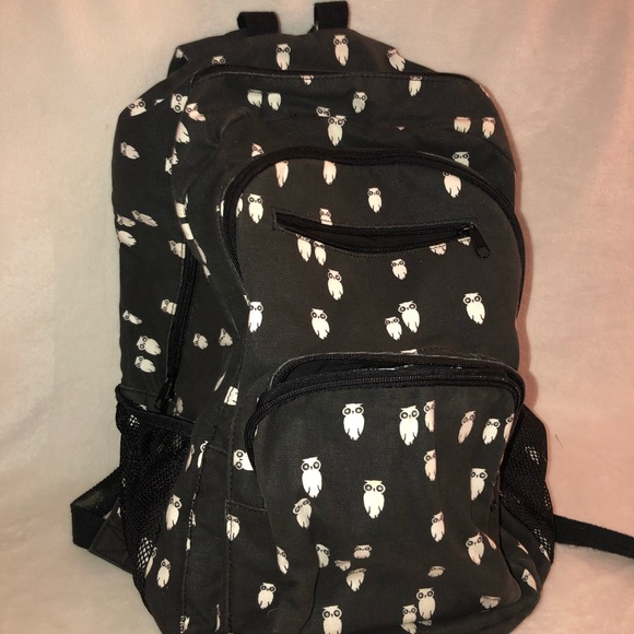Aeropostale Womens Backpack Black Owls